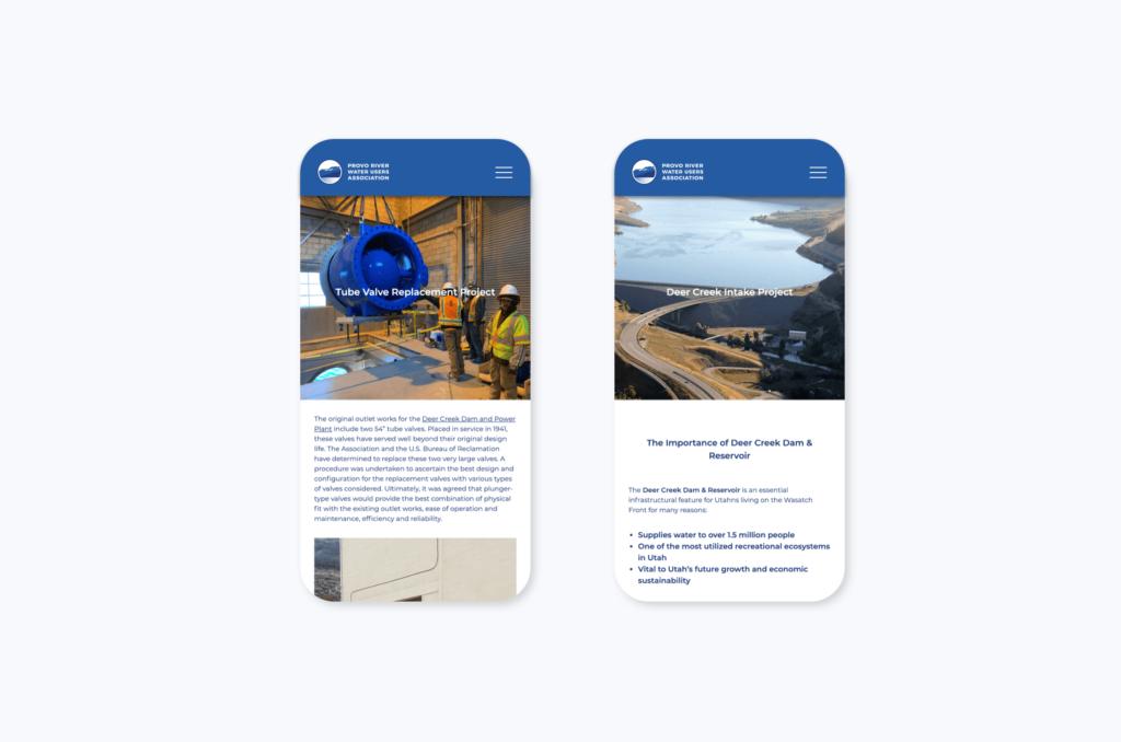 PRWUA website mobile view examples